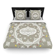 KESS InHouse Deco Wreath Silver by Miranda Mol Woven Duvet Cover; King/California King