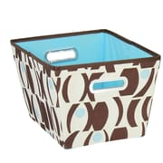 Household Essentials Geo Print Bin (Set of 2); Brown and Blue