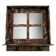 J. Hunt Home Wall Mirror with Hooks; Distressed Red
