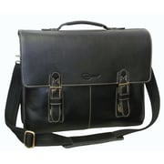 AmeriLeather Classical Leather Organizer Briefcase; Black