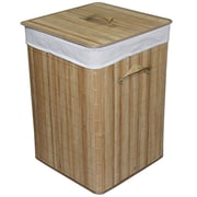 ORE Furniture Square Folding Bamboo Laundry Basket with Handle
