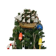 Handcrafted Nautical Decor Wooden Mayflower Model Ship Christmas Tree Topper Decoration