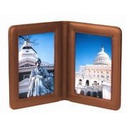 Royce Leather 5 x 7 Double Picture Frame; Tan