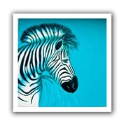 ArtWall 'Zebras Blue' by Lindsey Janich Canvas Poster; 28'' H x 28'' W