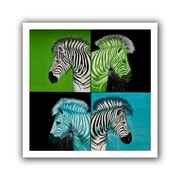 ArtWall 'Zebras Blue Green' by Lindsey Janich Canvas Poster; 40'' H x 40'' W