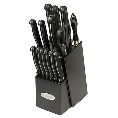 Oceanstar Design Contemporary 15 Piece Knife Block Set; Elegant Black