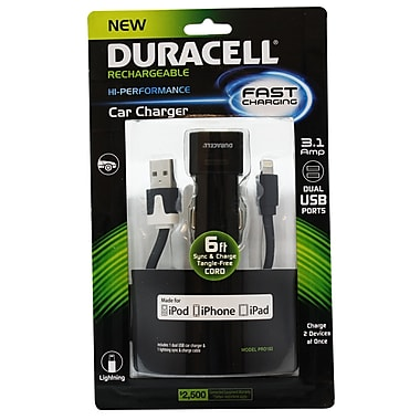 Duracell® Dual USB Car Charger 3.1 Amp Lightning, 6'