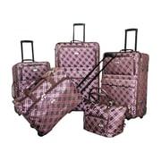 American Flyer Pemberly Buckle 5 Piece Luggage Set; Metallic Pink