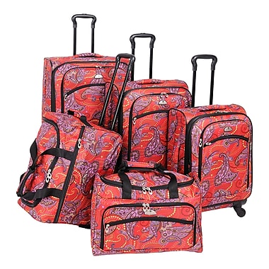 American Flyer Paisley 5 Piece Luggage Set I; Red