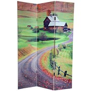 Oriental Furniture 72'' x 48'' Double Sided Rural Beauty 3 Panel Room Divider