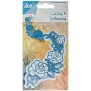"Ecstasy Crafts Joy! Crafts Rose Corner Cut & Emboss Die, Blue, 5"" x 2 3/4"""