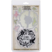Sizzix® Seasons Greetings Framelits Die Set With Cling Stamps