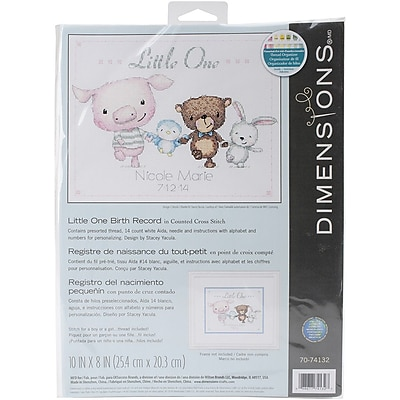"""""Dimensions Little One Birth Record Counted Cross Stitch Kit, 10"""""""" x 8"""""""""""""" 1545705"