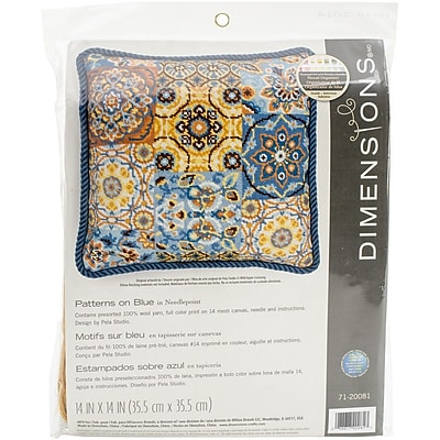 """""Dimensions Patterns On Blue Needlepoint Kit, 14"""""""" x 14"""""""""""""" 1545704"