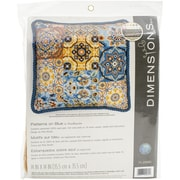 "Dimensions Patterns On Blue Needlepoint Kit, 14"" x 14"""