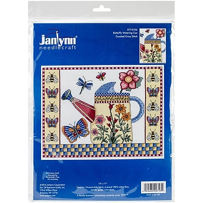 """""Janlynn Butterfly Watering Can Counted Cross Stitch Kit, 14"""""""" x 11"""""""""""""" 1545699"