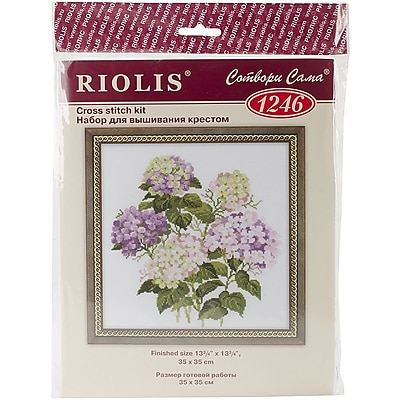 """""Riolis Garden Hydrangea Counted Cross Stitch Kit, 13 3/4"""""""" x 13 3/4"""""""""""""" 1545757"