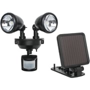 Maxsa® Solar Powered Motion Activated Dual Head LED Security Spotlight, Black