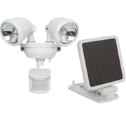 Maxsa® Solar Powered Motion Activated Dual Head LED Security Spotlight, White