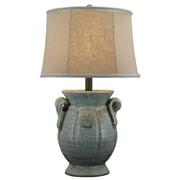 AHS Lighting St. Tropez 24'' H Table Lamp with Oval Shade; Blue