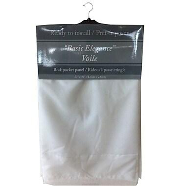 Maison Condelle – Rideau à passe-tringle « Basic Elegance », 54 x 96 po, blanc