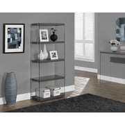 Monarch Specialties Inc. Monarch / Tempered Glass 60'' Standard Bookcase; Glossy Gray