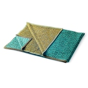 ZUZUNAGA Bitmap Labyrinth Cotton Blend Blanket; Calm Turquoise