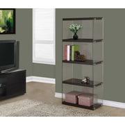 Monarch Specialties Inc. Monarch / Tempered Glass 60'' Standard Bookcase; Cappuccino