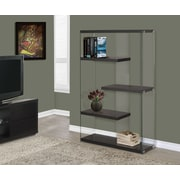 Monarch Specialties Inc. Monarch / Tempered Glass 60'' Accent Shelves; Cappuccino