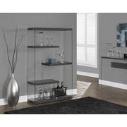 Monarch Specialties Inc. Monarch / Tempered Glass 60'' Accent Shelves; Glossy Gray