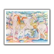 ArtWall 'Bathing Girls' by Franz Marc Canvas Poster; 22'' H x 28'' W
