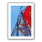 ArtWall 'Red Sails at Sea' by Linda Parker Canvas Poster; 16'' H x 22'' W