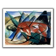 ArtWall Red Bull' by Franz Marc  Painting Print on Rolled Canvas; 40'' H x 52'' W