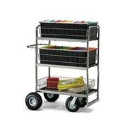 Charnstrom Triple-Decker Wire Basket File Cart; Molded Rubber