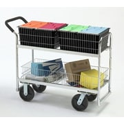 Charnstrom Long Wire-Basket Cart with Caster; Air Casters / Tires