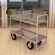 Charnstrom Long Wire-Basket Cart with Casters and Easy Push Handle; Molded Rubber
