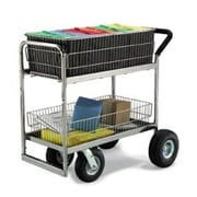 Charnstrom Medium Wire Basket File Cart w/ Caster Option; Air Casters / Tires