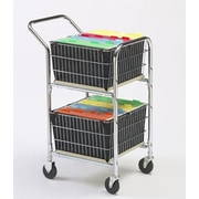 Charnstrom Compact File Cart with Double File Baskets and Caster