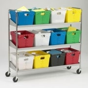 Charnstrom Extra Long 3 Shelf Mobile 12 Bin File Cart