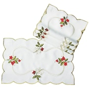 Xia Home Fashions Holly Berry Embroidered Placemat (Set of 4)