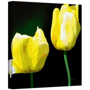 ArtWall 'Yellow Tulips' by Herb Dickinson Graphic Art on Wrapped Canvas; 14'' H x 14'' W x 2'' D