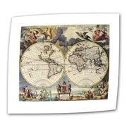 ArtWall Antique Maps 'Map of the World' by Loanne a Loon Graphic Art Canvas; 30'' H x 36'' W