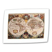 ArtWall Antique ''Hydrographica Map Antique Map'' Graphic Art on Canvas; 12'' H x 18'' W