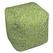 Thumbprintz Funky Florals Swirl Pattern Ottoman; Green