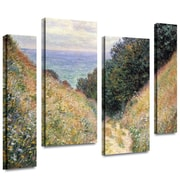 ArtWall 'Footpath' by Claude Monet 4 Piece Gallery-Wrapped Canvas Art Set; 24'' H x 36'' W x 2'' D