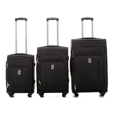 Champs Travelers Collection 3-Piece Hardside Spinner Set, Black