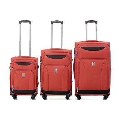 Champs – Ensemble de 3 valises rigides à roues multidirectionnelles de la collection Travelers, orange