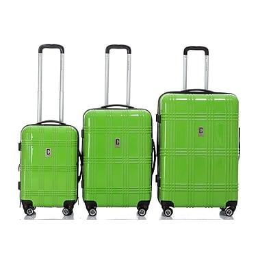 Champs – Ensemble de 3 valises rigides à roues multidirectionnelles de la collection Flight, vert lime