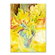 "Trademark Fine Art SG5699-C2432GG ""Vase with Yellow Flowers"" by Sheila Golden 32"" x 24"" Frameless Art"