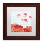 Trademark Fine Art WAP0125-W1111MF Orange Jelly Fish by Sarah Millin 11 x 11 Framed Art, White Matted